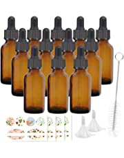 12 Pack 60 ml 2 oz Amber Glass Bottles with Glass Droppers and Black cap.Glass Dropper Bottles for Essential Oils,Lab Chemicals,Colognes,Perfumes.Included 1 Brush,2 Funnels and 24 Labels.