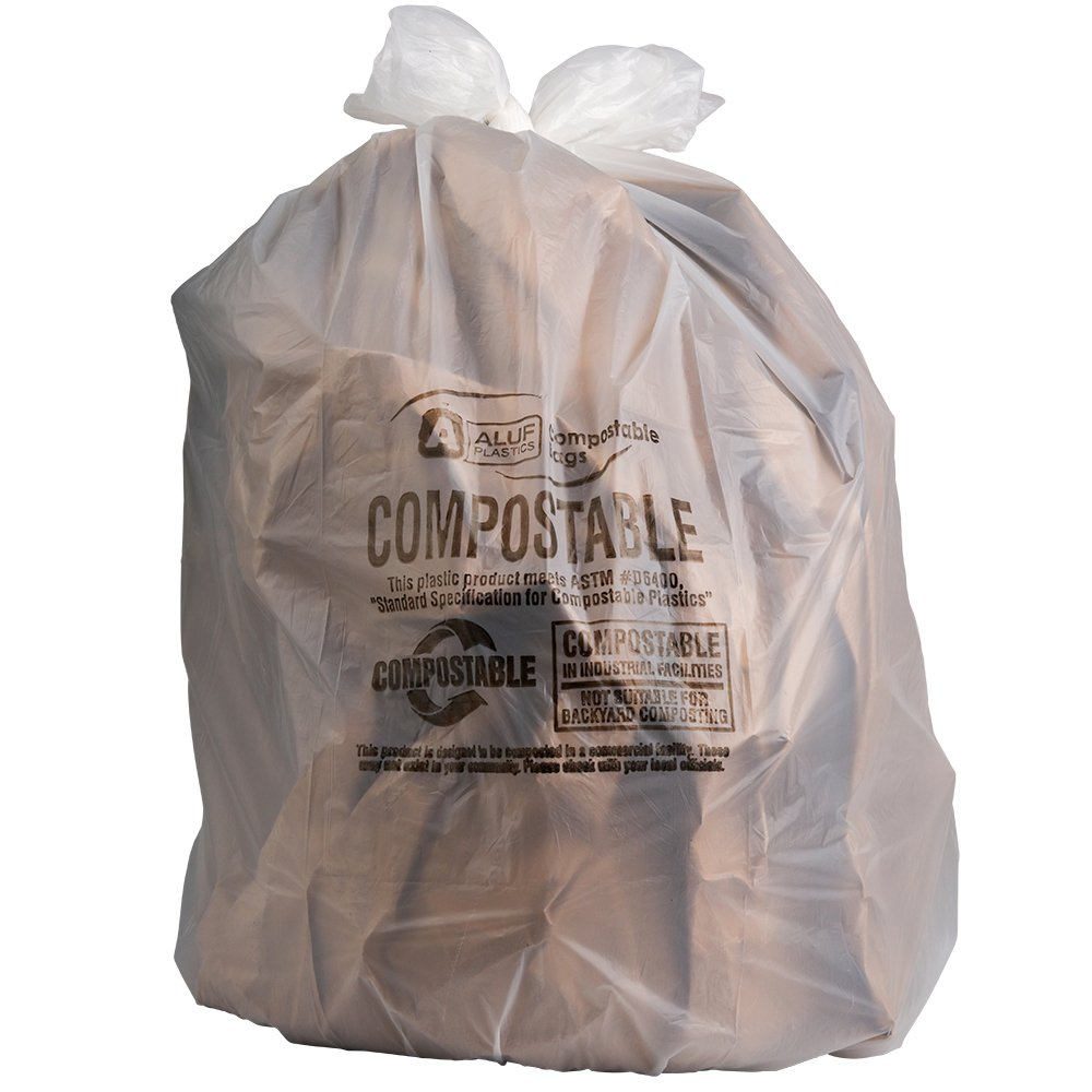 Plasticplace 40-45 Gallon Compostable Trash Bags, 0.85 Mil, 33 W x 48 H, Clear, 50/Case 33 W x 48 H