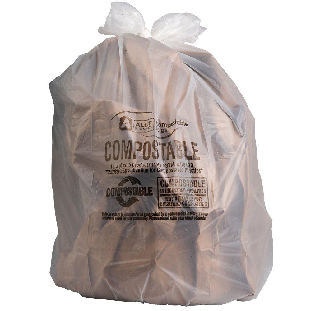 Plasticplace 40-45 Gallon Compostable Trash Bags, 0.85 Mil, 33''W x 48''H, Clear, 50/Case