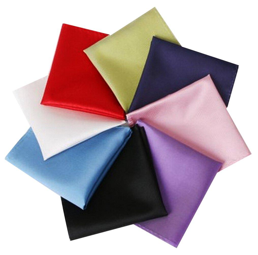 MENDENG Men's 8 Pack Solid Plain Assorted Pocket Square Party Handkerchief Set