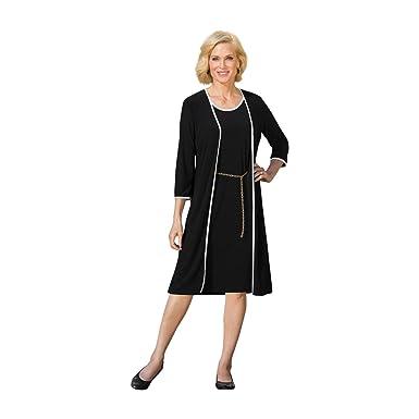 8024bd21eceb Brownstone Studio Women's Plus Size Classic Piped Jacket Dress - 22W Black/ White
