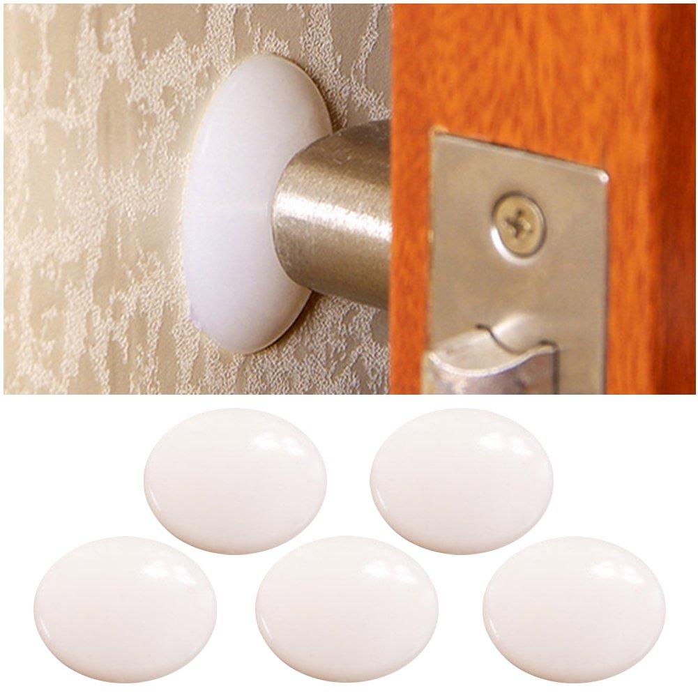 Doitsa 5Pcs Anti-Collision Pad pour Butoirs de Porte Poignée de Porte Pare-Chocs Doux Caoutchouc Protecteur de Mur Auto-Adhésives Arrêt de Porte Protège-Mur Blanc