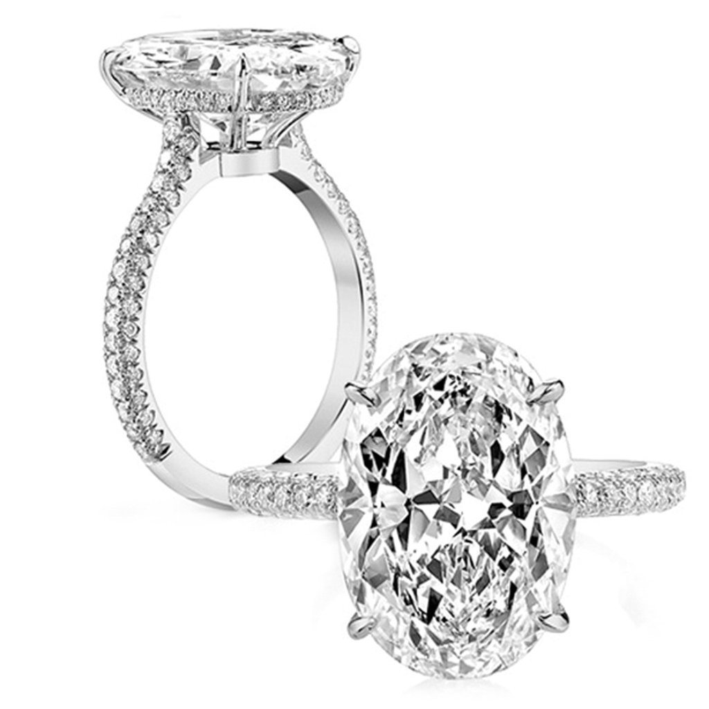 Epinki Custom Ring-925 Sterling Silver Womens Anniversary Ring Cubic Zirconia Oval Silver US Size 7.5