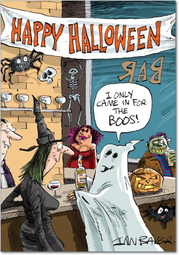 3105 'In Bar for Boos' - Funny Halloween Greeting Card with 5