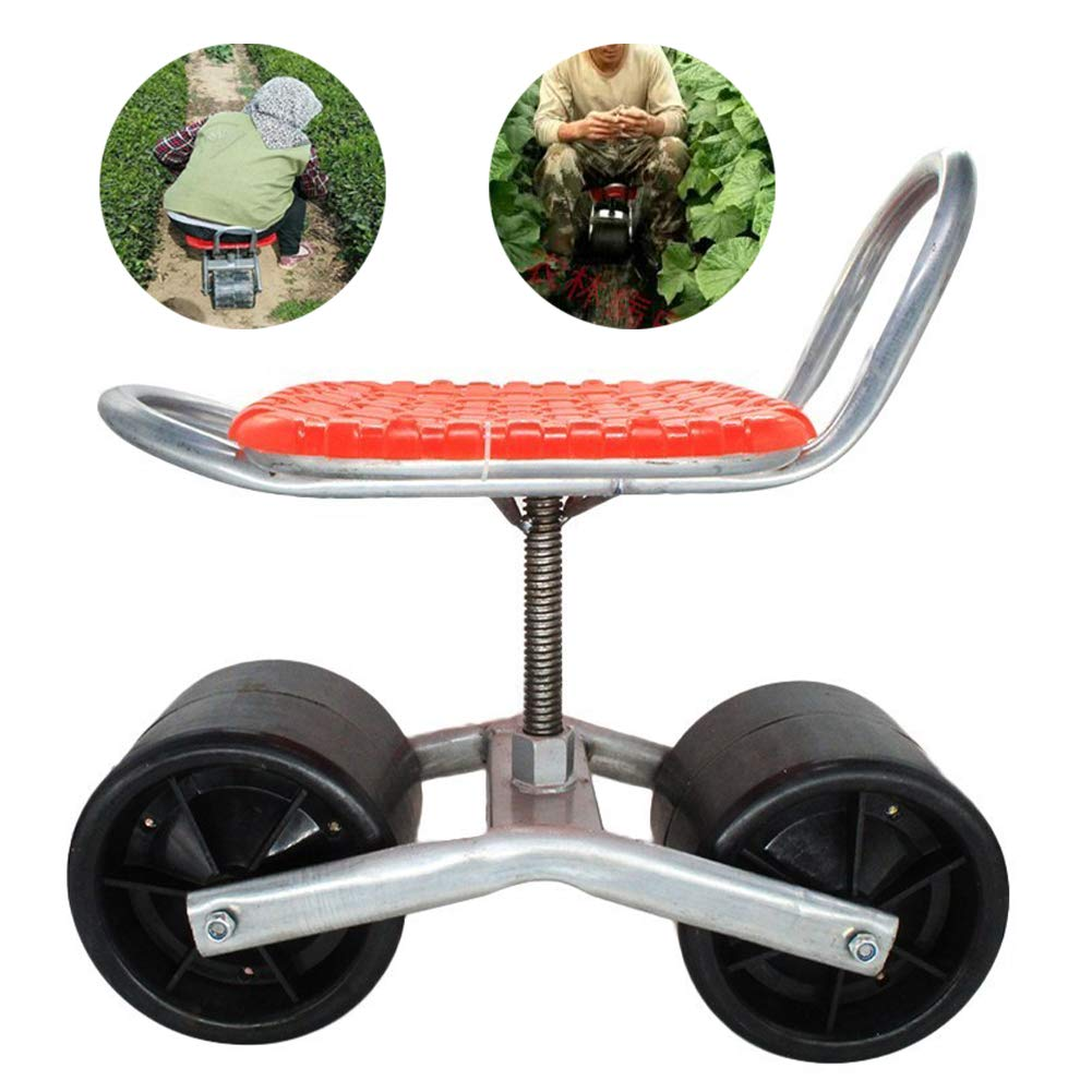HLovebuy Garden Cart Rolling Work Seat Outdoor Lawn Yard Patio Wagon Scooter Adjustable 360 Degree Swivel Seat for Weeding, Gardening, and Outdoor Lawn Care by HLovebuy