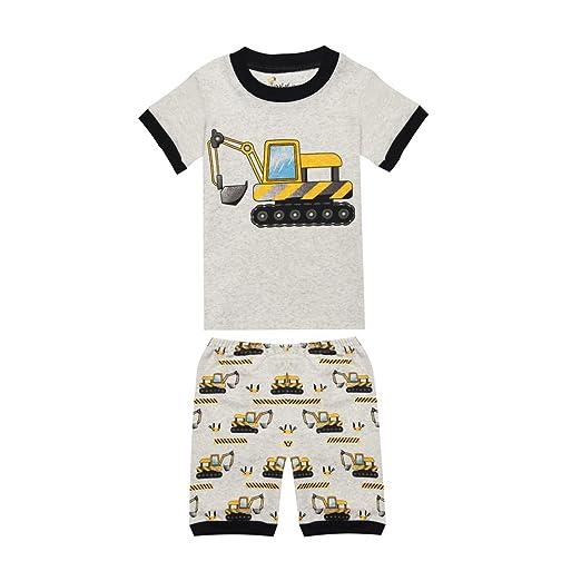 3a69714b4671 Amazon.com  TinaLuLing 100 Cotton Summer Short Sleeve Boys Pajamas ...