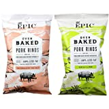 Epic, Artisanal Oven Baked Pork Rinds, Pink Himalayan Sea Salt and Chili Lime (2 Pack)
