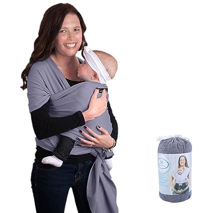 Fular portabebés, ZOGIN portador de bebé para recién nacidos, bebés y niños con material de algodón y spandex, color gris oscuro
