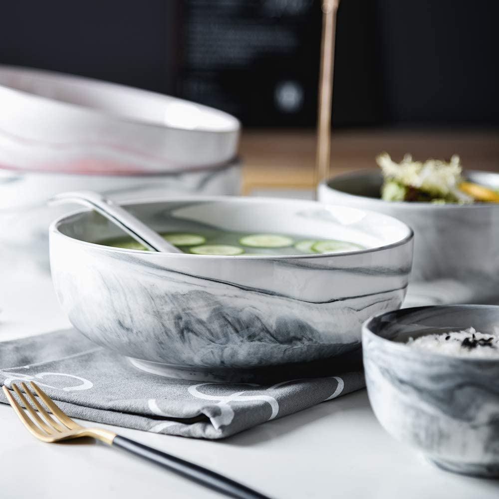 Yundu 56 OZ Ceramic Bowls Ice Cream//Cereal Bowls Microwave Safe Bowls for Soup Bowls Set of 3,Marble Color of Gray Large Bowl