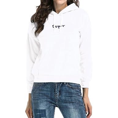Hibote Sweats à Capuche Femme, Pull Femme Longues Encapuchonné Hiver  Sweatshirt Ado Fille White M bc7caf30b965