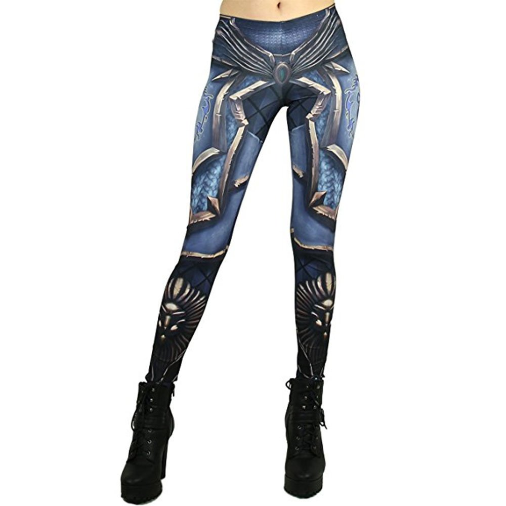 F style Womens 3d Printed Seamless Character Stretch Leggings High Waist Slim Pencil Pants,Blue,L(US 8/10)