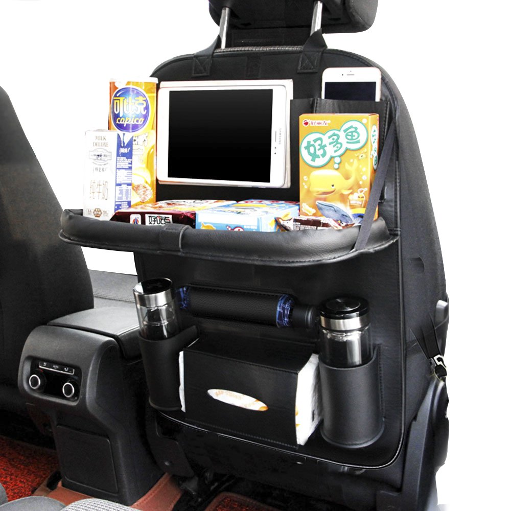 Black with Table Tray 1PC JAUTO Car Back Seat Organizers PU Leather Back Seat Organizer for Kids Toy Bottles Storage with Foldable Dining Table Tablet Holder Pocket Storage Kick Mats