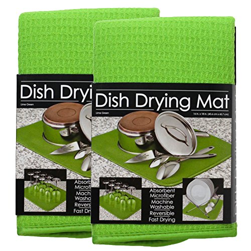 S&T Microfiber Dish Drying Mat, 16 by 18-Inch, Lime Green -