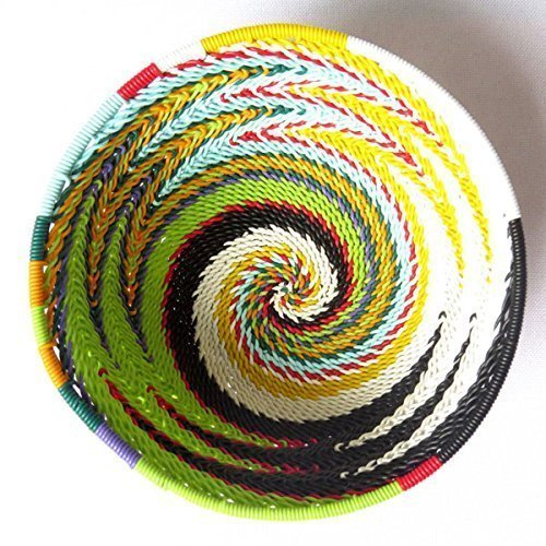 African Zulu woven telephone wire bowl – Extra small round - Multicolour - Gift from Africa
