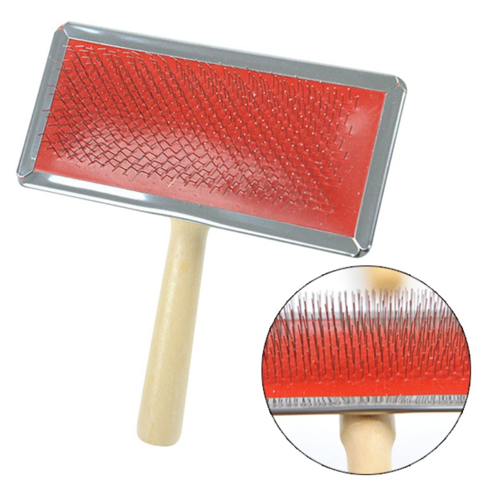 Handfly Dog Brush & Cat Brush Wood Handle Fur Care Dog Comb, Fur Comb | Underfill & Undercoat Simply Remove Self-cleaning Grooming Brush Suitable for short to long hair Small large animals