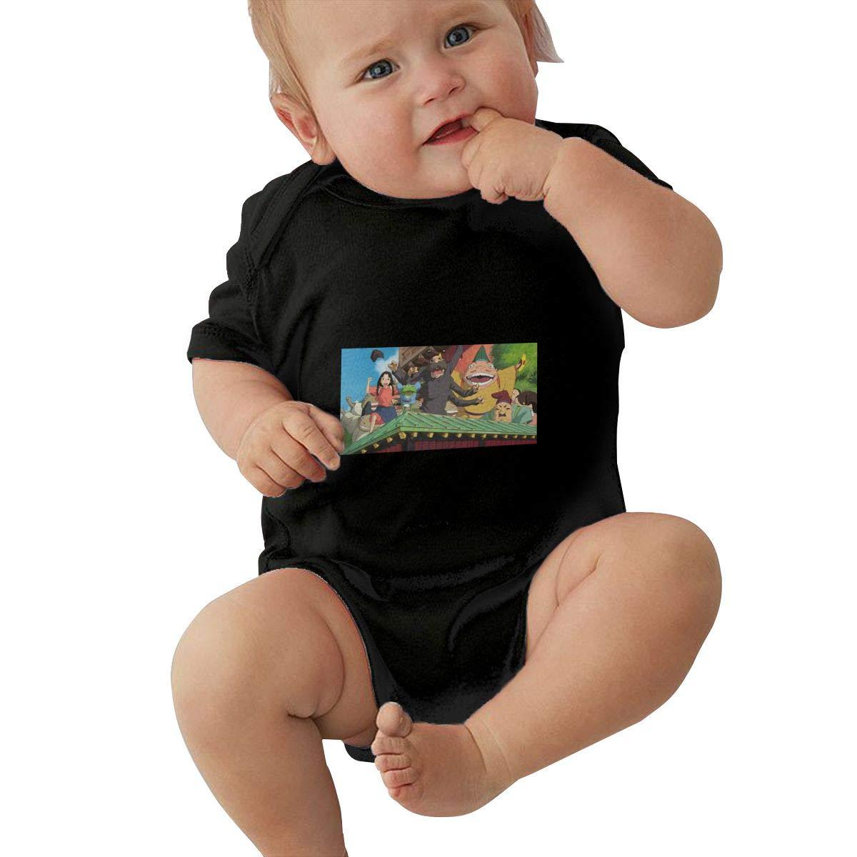 DUANIER Baby Boy Girl Crew Neck Short Sleeve Onesie Spirited Away Funny Crawling Clothes Black