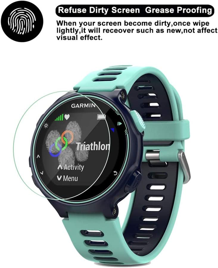 2 Pack High Clear Anti-stratch Screen Protector Tempered Glass for Garmin Forerunner 735XT VIESUP for Garmin Forerunner 735XT Screen Protector