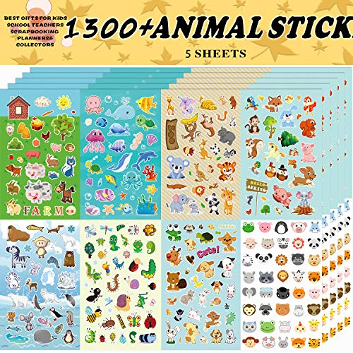 Christmas Craft Idea - Animal Stickers, Stickers for Kids Assortment Set 1300 PCS, 8 Themes Collection for Children, Teacher, Parent, Grandparent, Kids,Craft,School, Scrapbooking,Present Idea for Children,Christmas stickers