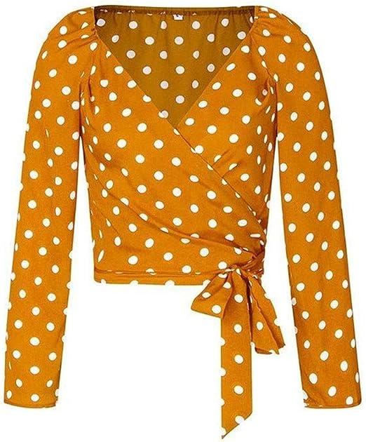 Txrh Camisa Camisa de Blusa de Mujer de Lunares de Abrigo Sexy Blusas Vintage Ocasionales Blusa de Manga de Soplo con Cuello en V Femenino (Color : Yellow, Size : L): Amazon.es: