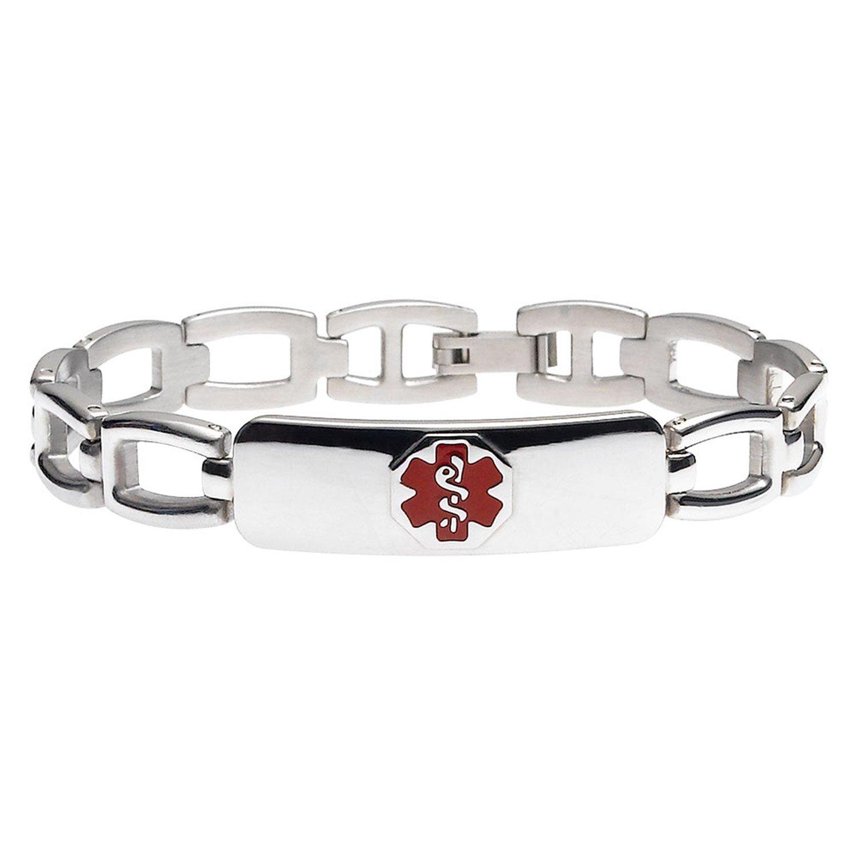 Divoti Custom Engraved Arc-link 316L Medical Alert Bracelet for Women - Red-8.5''