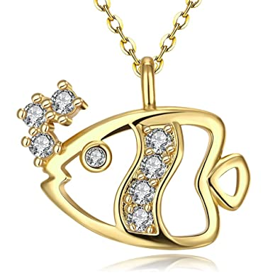 1ca86e7d60d Women's Fashion Gold Plating Cute Spit Bubbles Goldfish Pendant Necklace  with Zircon Antiallergic-LAB