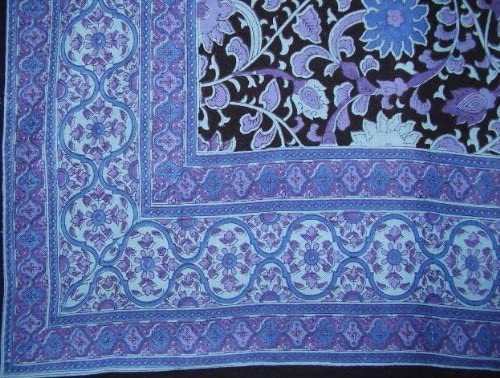 India Arts Sunflower Tapestry-Spread-Throw-Coverlet-Black Blue