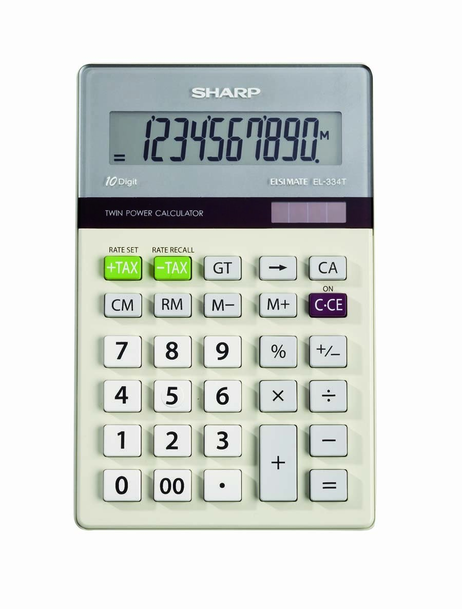 Sharp Electronics EL-334TB Twin Power 10-Digit Calculator with Kick Stand by Sharp