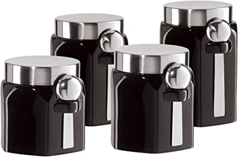 Amazon Com Oggi Ceramic 4 Piece Hexagon Canister Set With Stainless Steel Spoon And Lid Black Kitchen Storage And Organization Product Sets Kitchen Dining