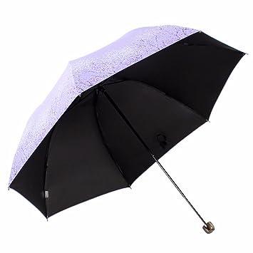 Pantalla de seda negro chica tres veces ultra - luz soleado sol paraguas paraguas azul claro