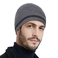OMECHY Mens Winter Plain Skull Beanie Warm Knitting Hats Cuff Stretchy Toboggan Knit Fleece Ski Cap