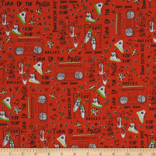 Music Fabric - The Beat Turn Up The Music Red Fabric By The Yard