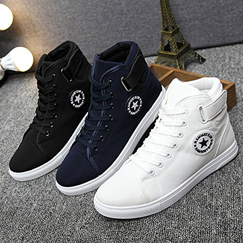 Pp Fashion Mans Flat Heel Casual Canvas Zapatos Fashion High Top Lace Up Sneakers Blue