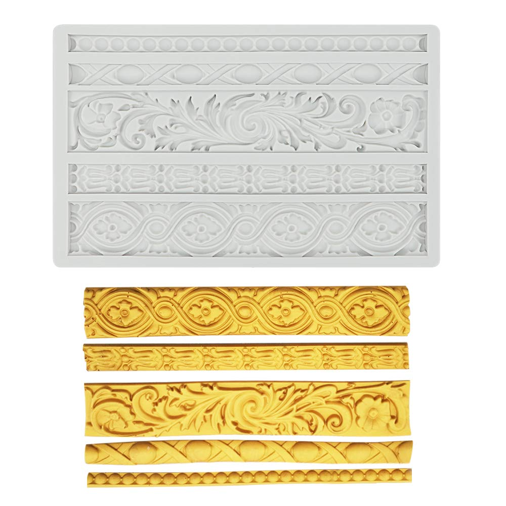 Palksky DIY Baroque Scroll Relief Cake Border Silicone Mold/Vintage Curlicues Fondant Molds Flower Frame Edible Lace Mould Mat for Birthday Candy Chocolate Sugarcraft Gum Paste Decorating Tool by Palksky