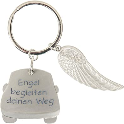 """Portachiavi auto/Angelo Custode con scritta /""""Engel begleiten deinen Weg/"""""""