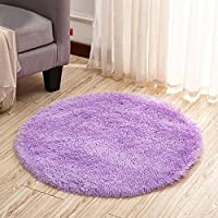 Dotesy Soft Furry Round Area Rugs for Baby Living Room Bedroom Home Shag Carpet 4-Feet,Purple
