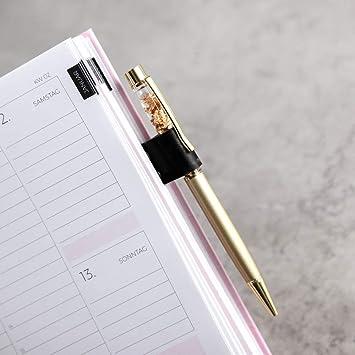 Portalápices con función de pinza de metal dorado con soporte de piel apto para agenda, agenda, cuadernos, libros, bolígrafos como bolígrafos, lápices, etc. Con clip.: Amazon.es: Bricolaje y herramientas