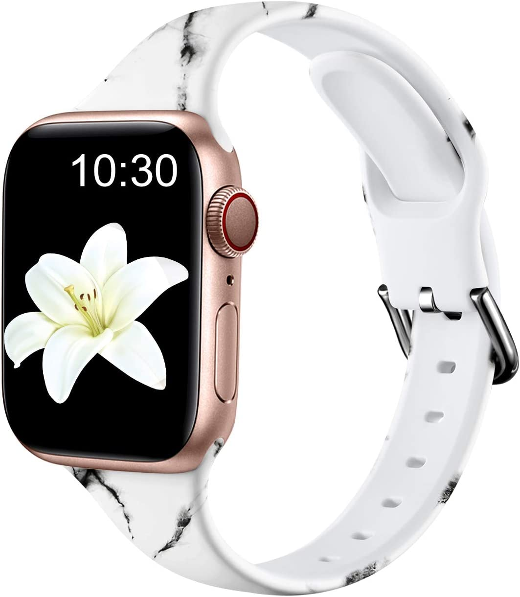 Nofeda Bands Compatible with Apple Watch Band 38mm 40mm iWatch Series 6 5 4 3 2 1 & SE, Slim Silicone Printed Fadeless Replacement Strap Band for Women Men, White Marble