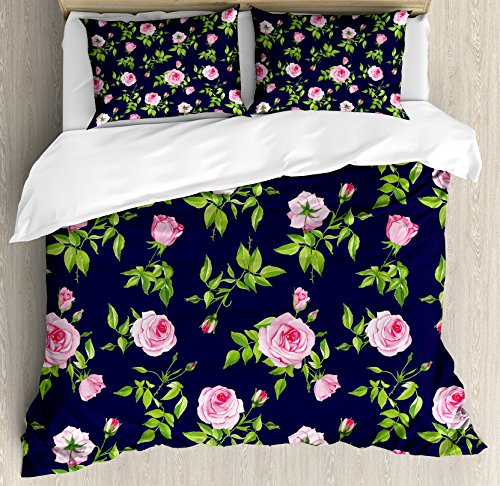 Navy and Blush Duvet Cover Set Queen Size by Ambesonne, Vintage Roses and Buds Romantic Feminine Floral Pattern Old Fashioned, Decorative 3 Piece Bedding Set with 2 Pillow Shams, Indigo Green Pink