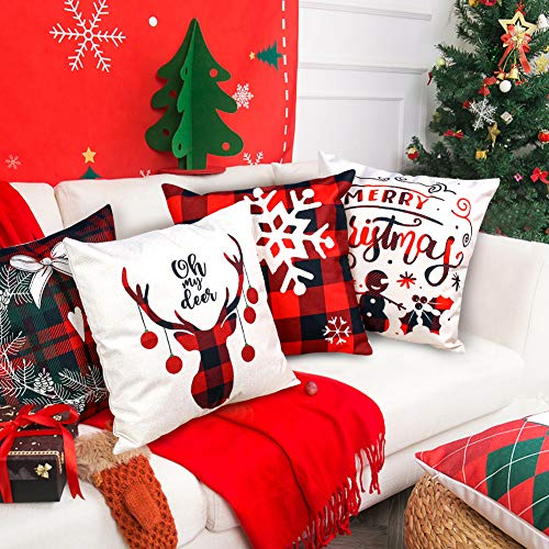 VGOODALL Christmas Pillow Covers, 4 PCS 18 Christmas Sofa Throw Pillow Case Random Style