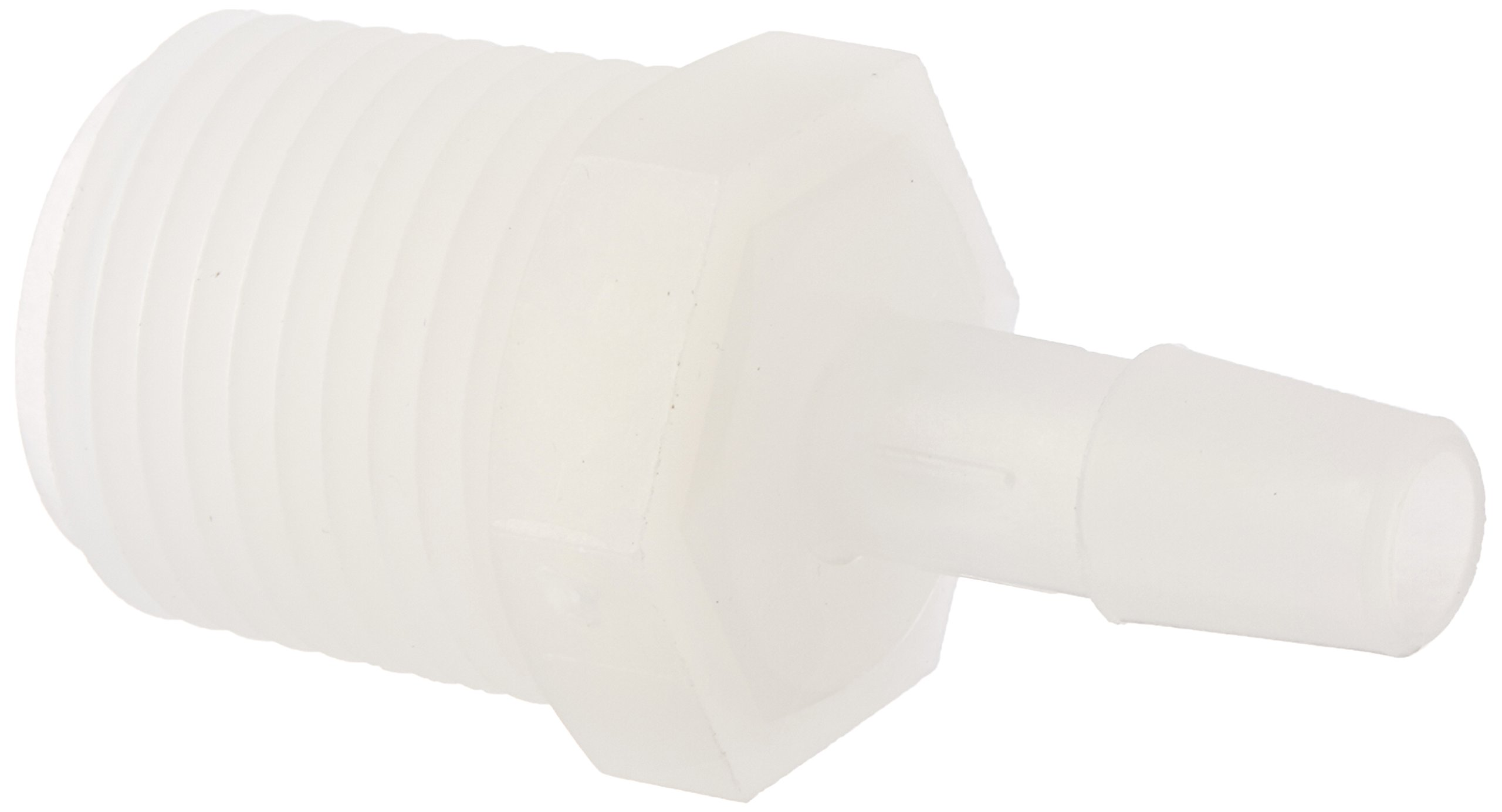 Eldon James A8-5NK Natural Kynar Adapter Fitting, 1/2-14 NPT to 5/16'' Hose Barb (Pack of 10)