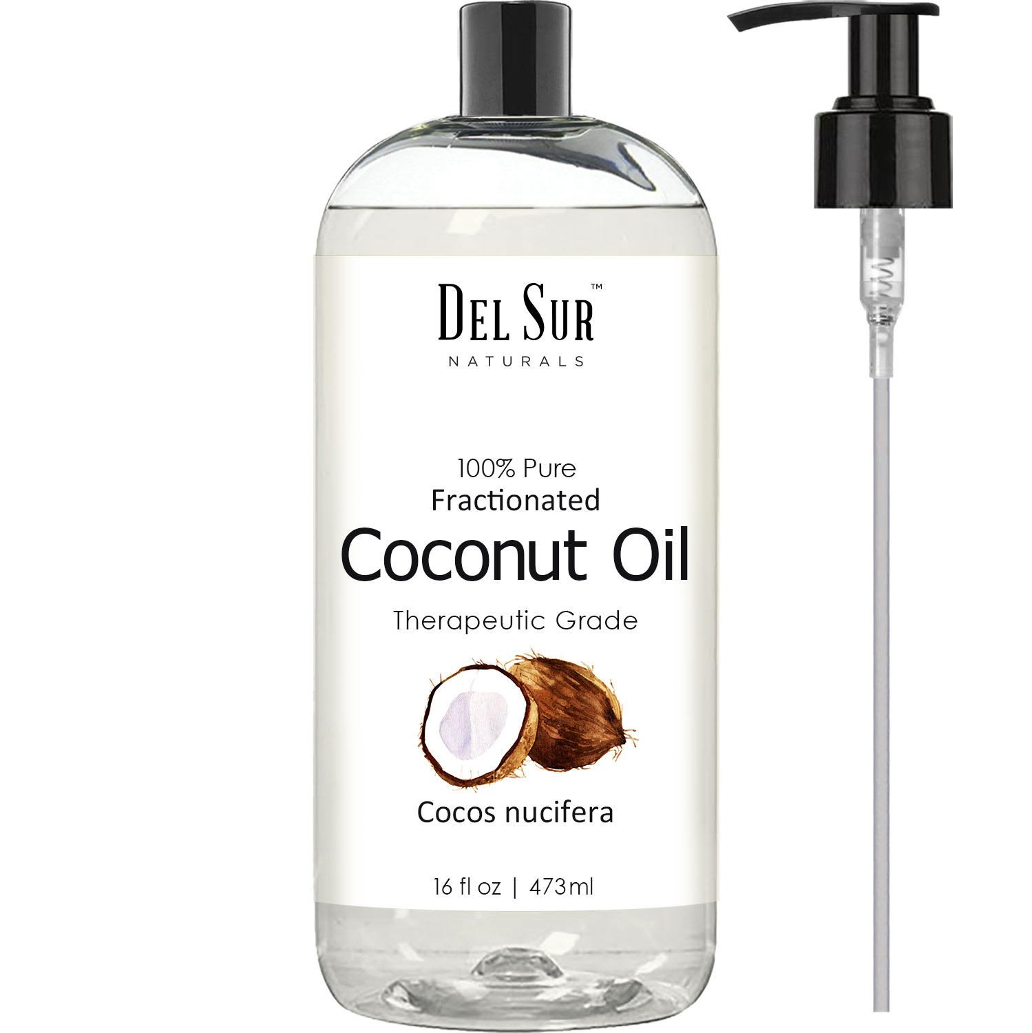 Del Sur Naturals Fractionated Coconut Oil Moisturizer Aromatherapy Relaxing Massage Carrier Oil for