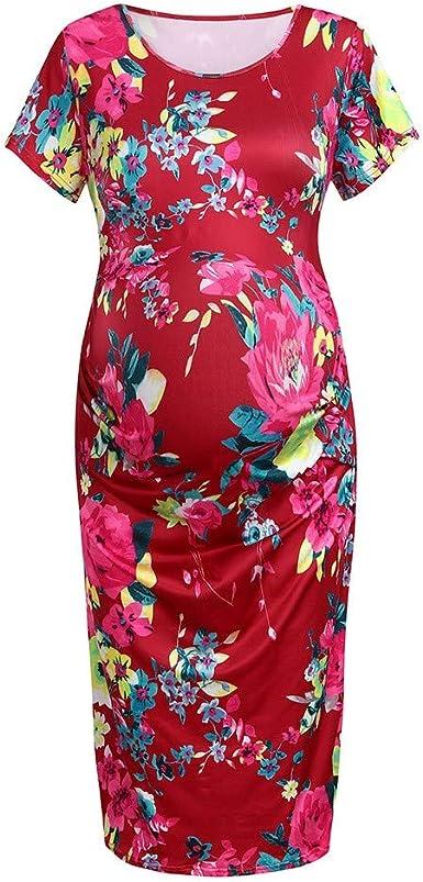 Women Short Sleeve Round Neck Stretchy Maternity Tunic Dress Pregnancy Dress