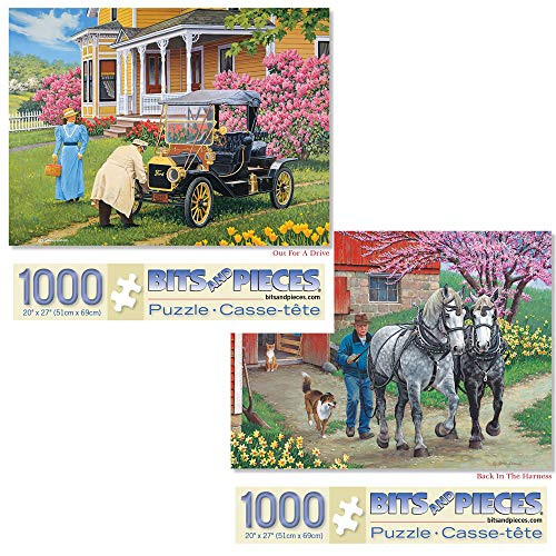 Bits and Pieces - Set of Two (2) 1000 Piece Jigsaw Puzzles for Adults - Each Puzzle Measures 20