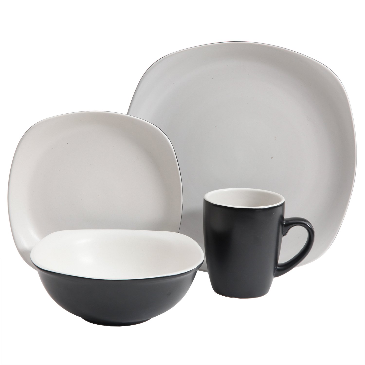 Gibson Home 114384.16RM Tristen 16 Piece Dinnerware Set, Black and White