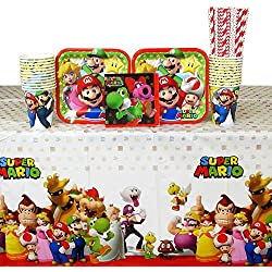 Super Mario Brothers Party Supplies Pack for 16 Guests Includes: Straws, Dessert Plates, Beverage Napkins, Cups, and Table Cover (Bundle for 16)