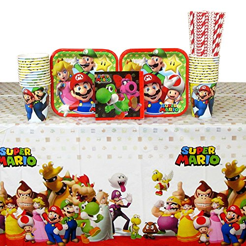 Super Mario Supplies Party - Super Mario Brothers Party Supplies Pack for 16 Guests Includes: Straws, Dessert Plates, Beverage Napkins, Cups, and Table Cover (Bundle for 16)