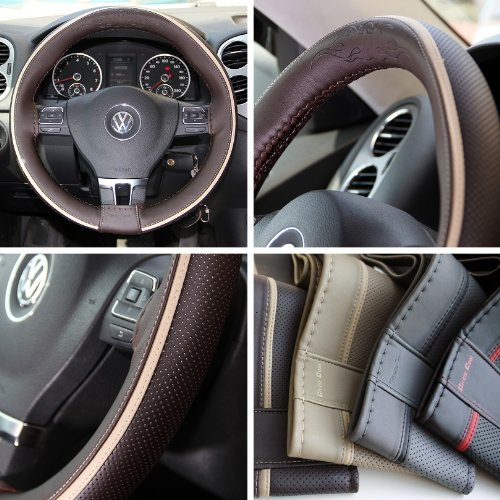 Circle Cool Brown PVC Leather Beige Strip Steering Wheel Cover Wrap w/ Needle & Thread 15.5