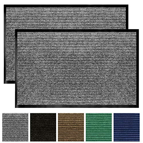 Gorilla Grip Original Low Profile Rubber Door Mat, 35×23, Pack of 2, Durable Doormat for Indoor and Outdoor, Waterproof…