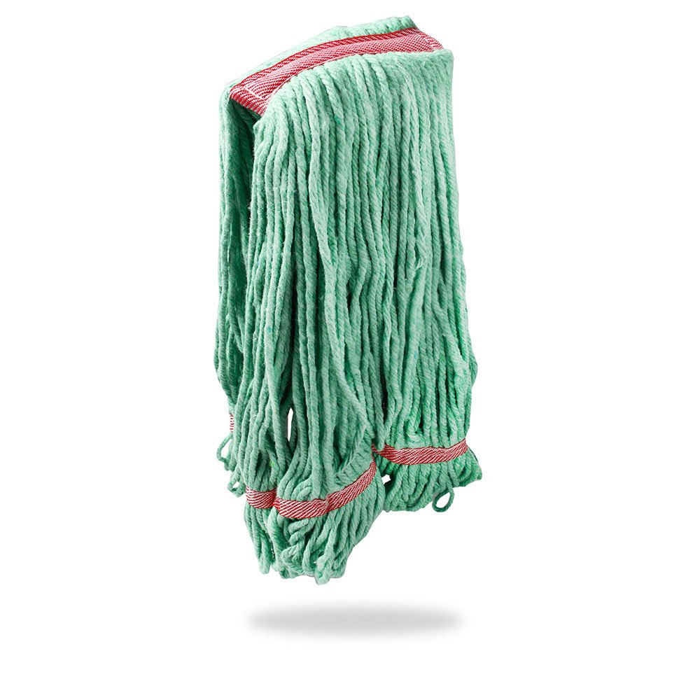Libman Commercial 2122 Large Antibacterial Looped-End Wet Mop Head, Cotton Blend, 20 oz., Green (Pack of 10)