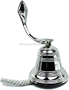 """Nagina International 6"""" Nickel Plated Round Premium Polished Aluminum Pirate's Boat Bell Accentual Rings 